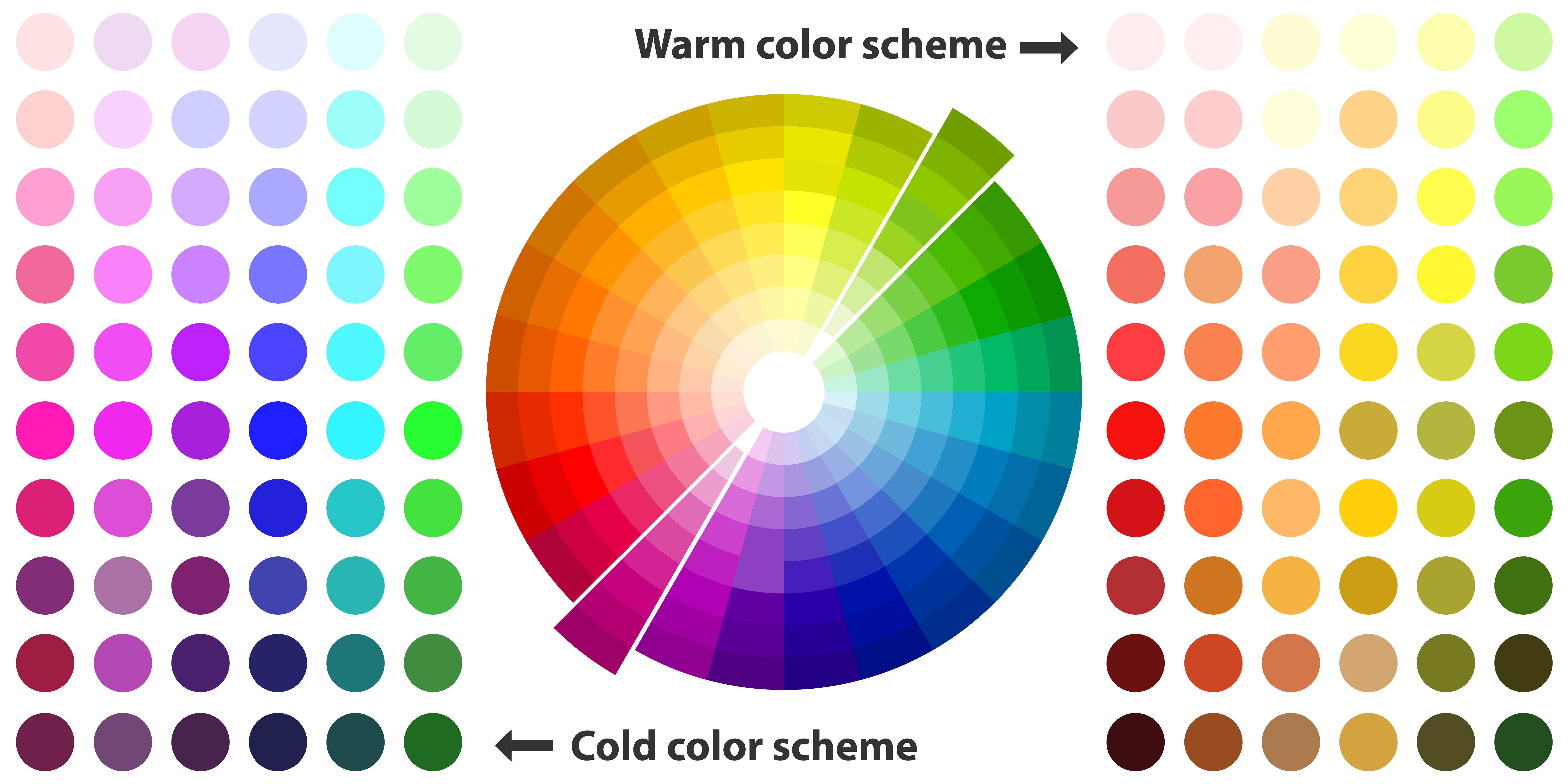 paleta chłodnych i ciepłych odcieni
