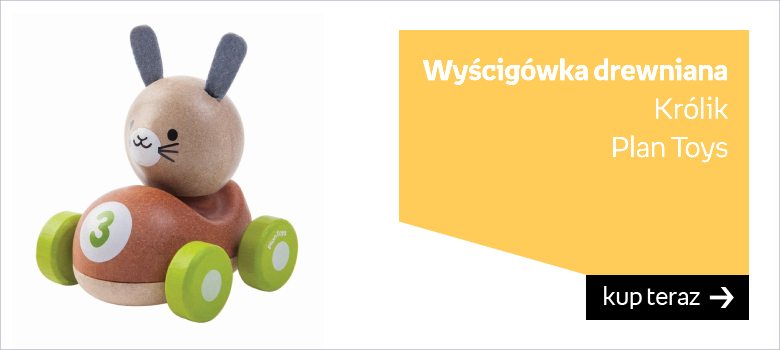 Plan Toys, Królik, wyścigówka, drewniana
