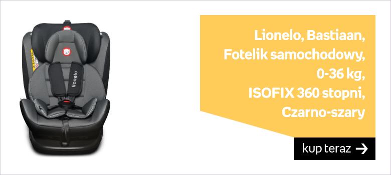 Lionelo, Bastiaan, Fotelik samochodowy, 0-36 kg, ISOFIX 360 stopni, Czarno-szary