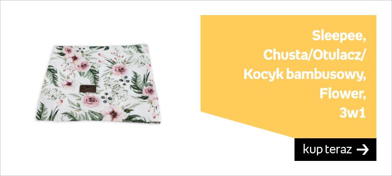 Sleepee, Chusta/Otulacz/Kocyk bambusowy, Flower, 3w1