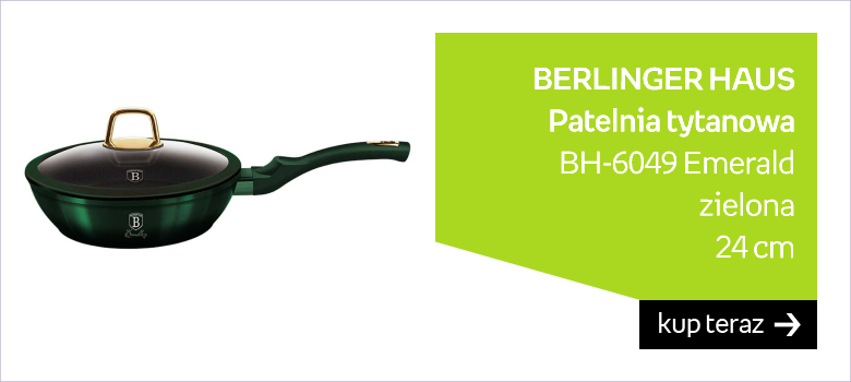 Patelnia tytanowa BERLINGER HAUS BH-6049 Emerald, zielona, 24 cm