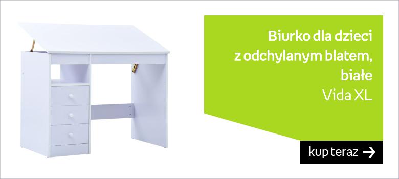 Biurko dla dzieci z odchylanym blatem, białe