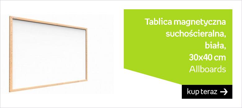 Tablica magnetyczna suchościeralna, biała, 30x40 cm