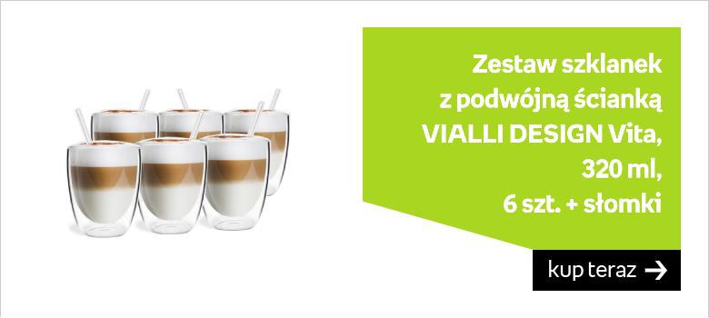 Zestaw szklanek z podwójną ścianką VIALLI DESIGN Vita, 320 ml, 6 szt. + słomki
