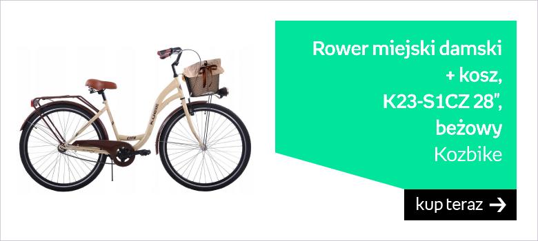 """Kozbike, Rower miejski damski + kosz, K23-S1CZ 28"""", beżowy"""