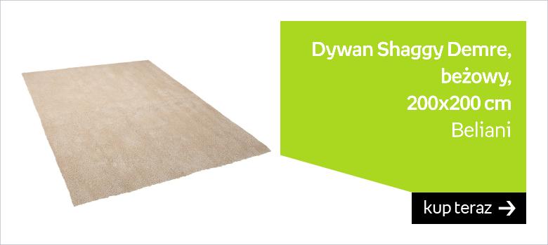 Dywan BELIANI Shaggy Demre, beżowy, 200x200 cm