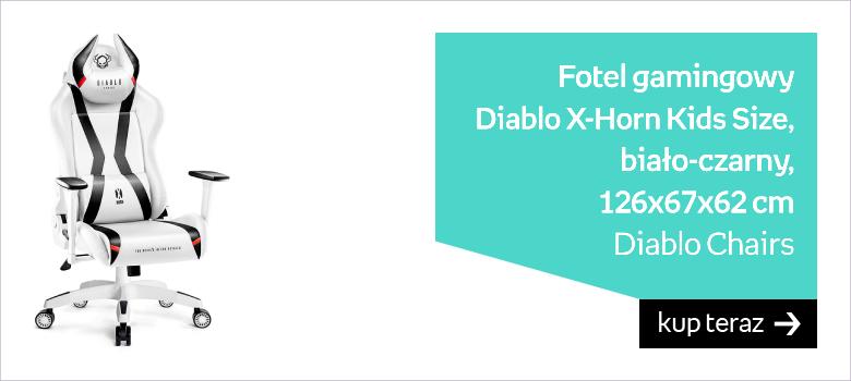 Fotel gamingowy DIABLO X-Horn Kids Size, biało-czarny, 126x67x62 cm