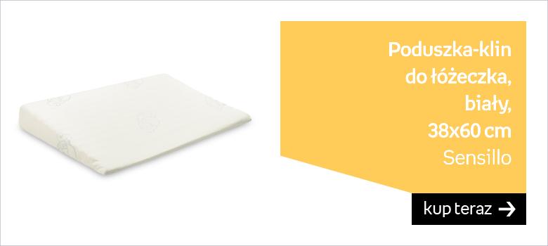 Sensillo, Poduszka klin do łóżeczka, Biały, 38x60 cm