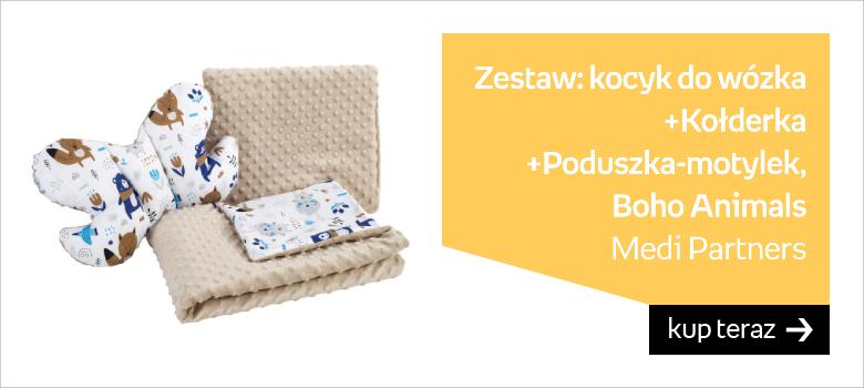 Medi Partners, Zestaw: Kocyk do wózka/Kołderka/Poduszka Motylek, Boho Animals, Beżowe Minky