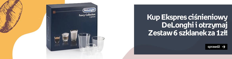 Kup ekspres Delonghi i otrzymaj zestaw szklanek za 1 zł!