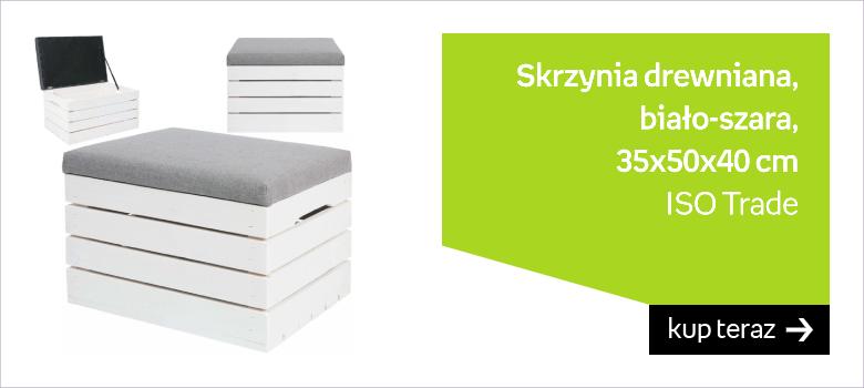 Skrzynia drewniana ISO TRADE 3636, biało-szara, 35x50x40 cm