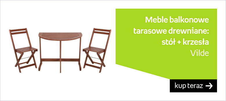 Meble BALKONOWE tarasowe drewniane zestaw mebli stół + krzesła