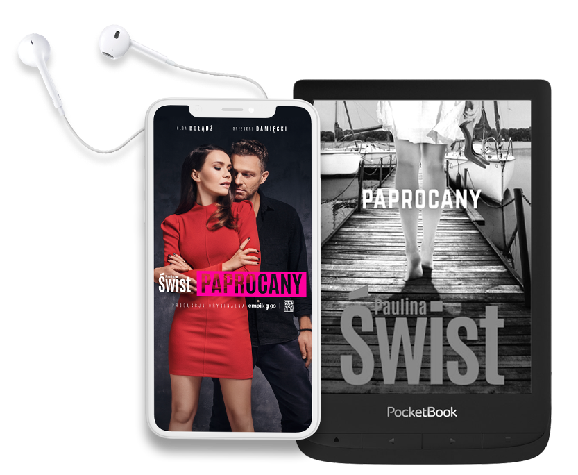telefon ze słuchawkami i postaciami na ekranie oraz PocketBook