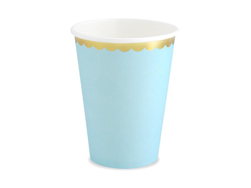Kubeczki papierowe, Golden Border, błękitne, 220 ml, 6 sztuk 32148787