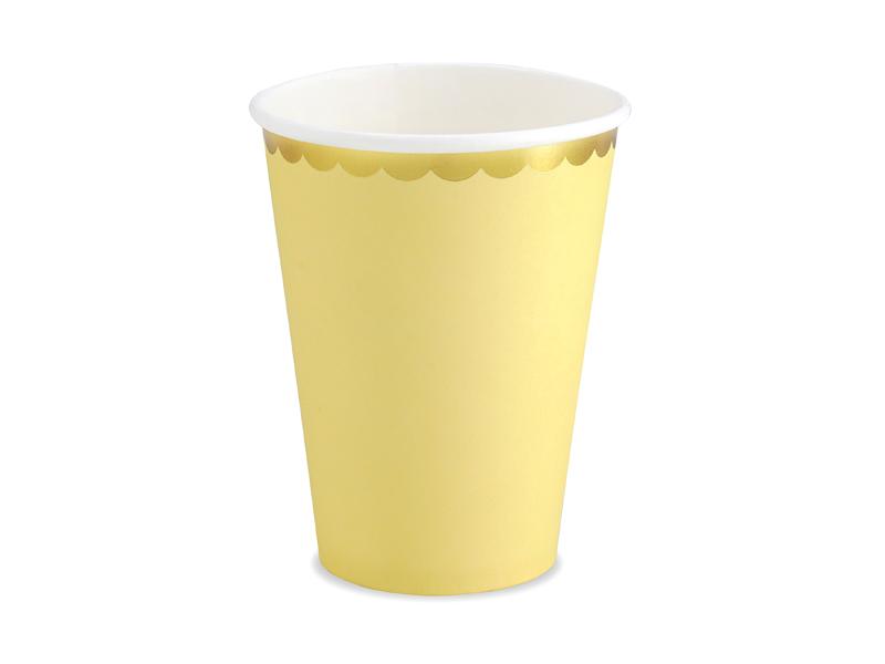 Kubeczki papierowe, Golden Border, żółty, 220 ml, 6 sztuk 32152517