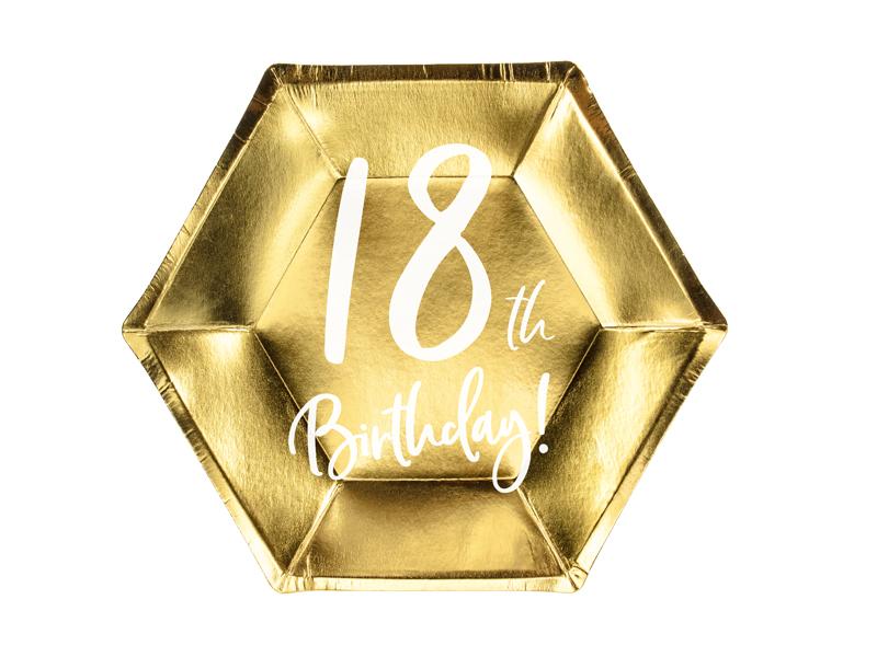 Talerzyki papierowe, 18th Birthday, złote, 20 cm, 6 sztuk 34475973