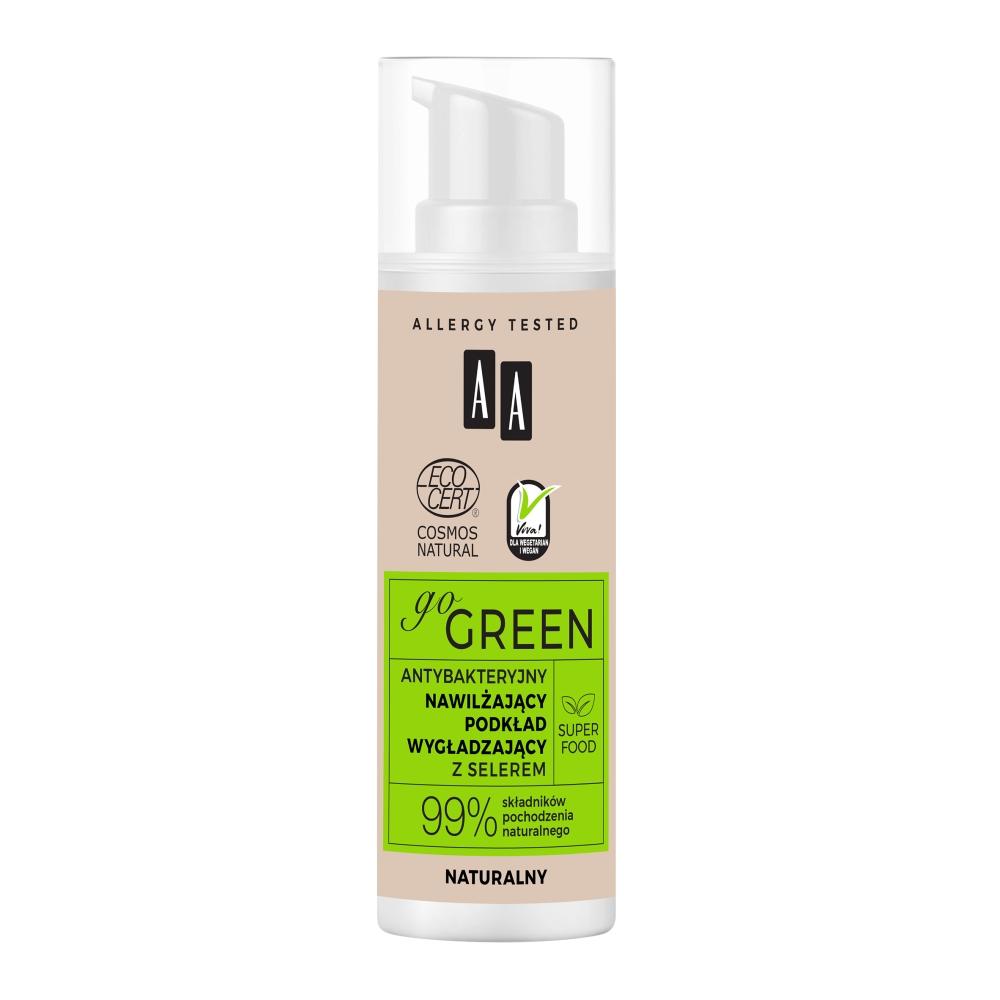 AA Go Green antybakteryjny nawilżający podkład wygładzający z selerem naturalny 30 ml