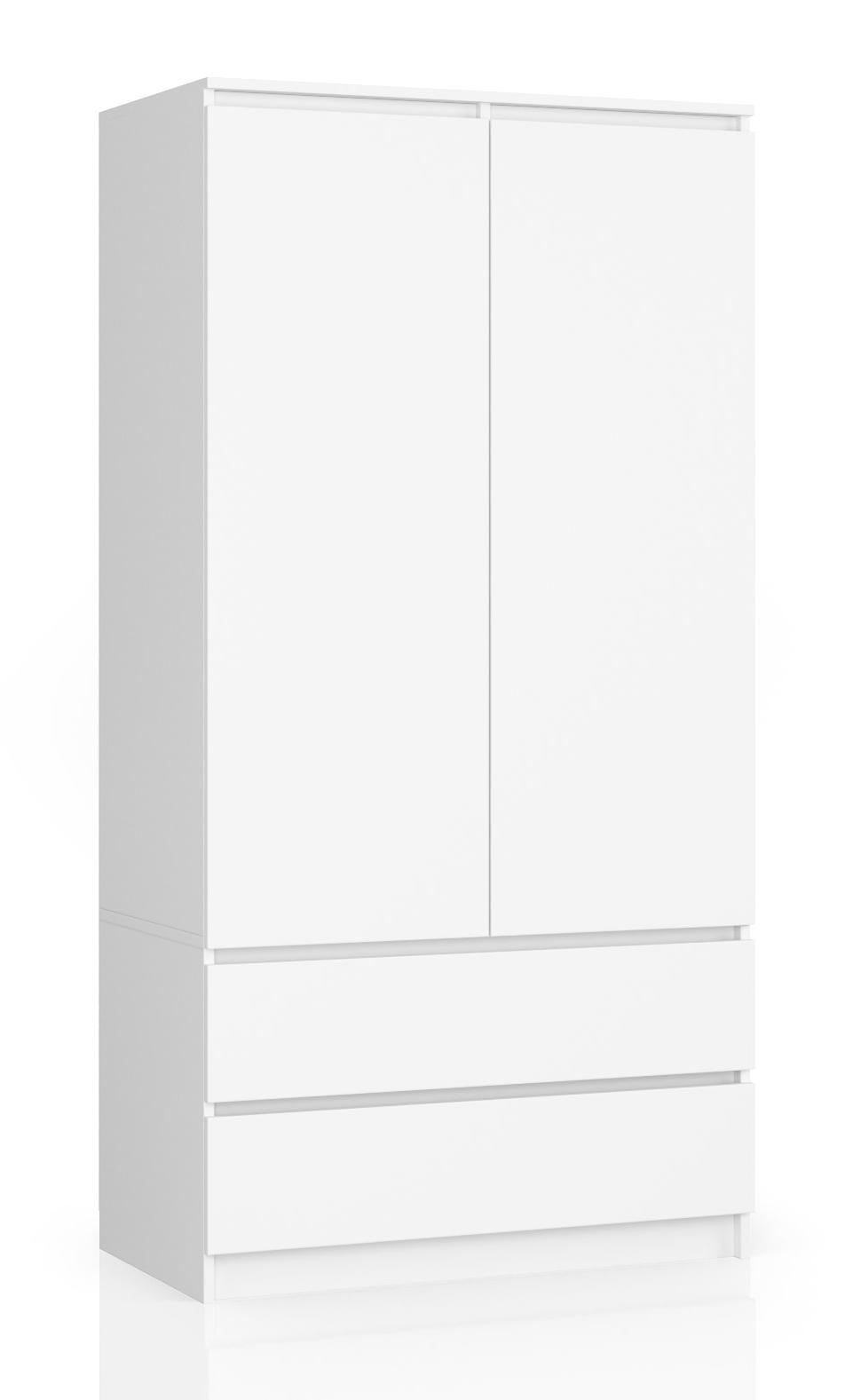 SZAFA GARDEROBA S 90cm 2D 2SZ BIAŁA NOWOCZESNA Kolor frontów biały